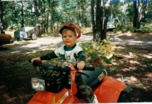 Little Drew on a 4-wheeler.
