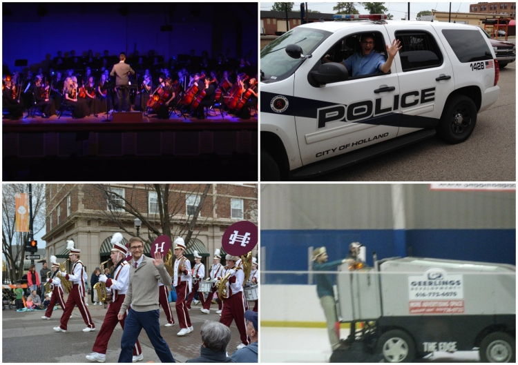 """Is there any chance I could direct an orchestra piece for the Fall Concert?"" ""Do you think I might be able to get my picture taken in the front seat of your police car, officer?""   ""Would it be okay if I marched with the band for a parade?"" ""Can I ride on the Zamboni between periods of the hockey game?"""