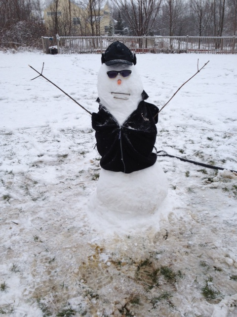 Our foster daughter's snowman...I thought this would go well after New York City :)